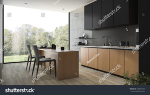 stock-photo--d-rendering-modern-black-kitchen-with-wood-built-in-568847059