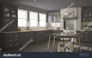 stock-photo-scandinavian-classic-gray-kitchen-with-wooden-details-minimalistic-interior-design-d-illustration-576641962