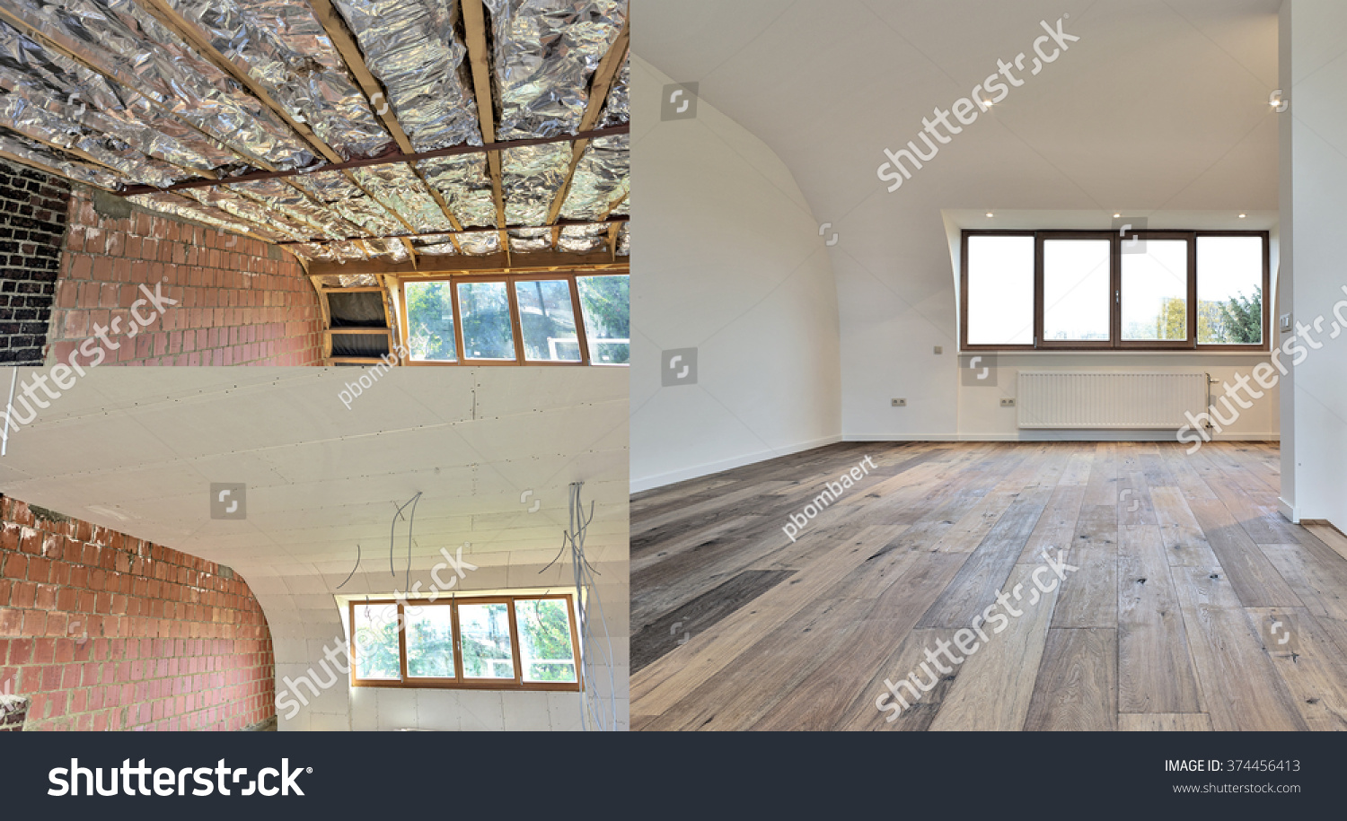 stock-photo-construction-of-the-wooden-frame-of-a-roof-fiberglass-insulation-installed-in-the-sloping-ceiling-374456413