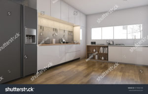 stock-photo--d-rendering-nice-kitchen-and-dining-room-with-wood-floor-577846108