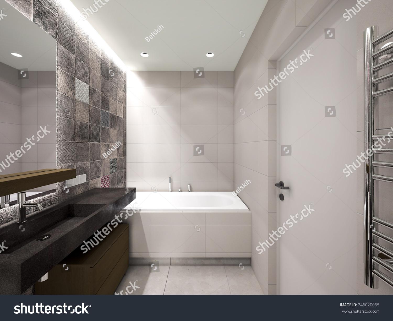 stock-photo-grey-bathroom-d-rendering-246020065
