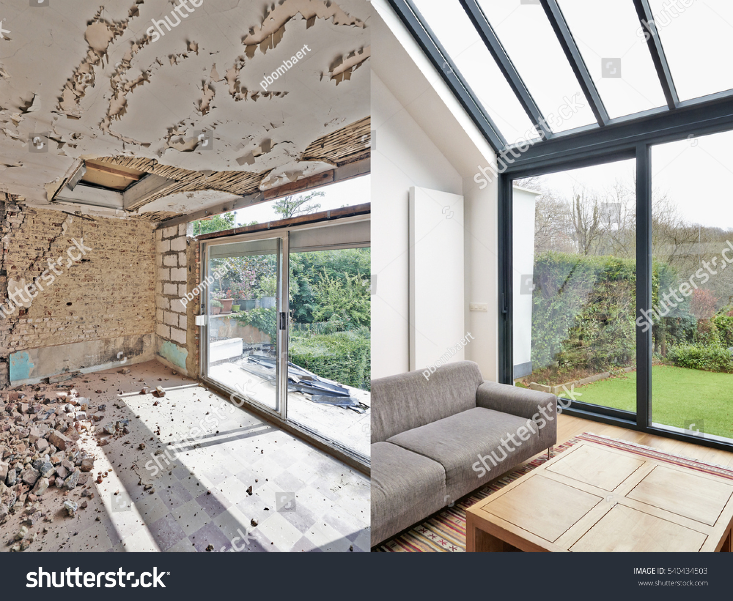 stock-photo-modern-living-room-with-large-windows-and-view-on-seaside-before-and-after-540434503